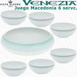 Juego Macedonia 6 servicios 7 piezas Vista Alegre VENEZIA verde