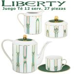 Juego Té Porcel 12 servicios (27 pzs.) Liberty Verde y Oro diseño moderno