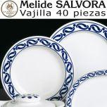 Vajilla 40 piezas Pontesa Santa Clara Melide Sálvora Azul Cobalto