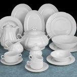 Vajilla hosteleria y hogar, porcelana blanca de calidad, vajilla Augusta Santa Clara Pontesa. platos, sopera, fuentes, ensaladera.
