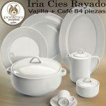 Vajilla + Juego Café 84 piezas Santa Clara Iria Cies Rayado Blanco