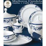 Vajilla + Café 84 piezas Pontesa Santa Clara mallorca Candela Flores Cobalto