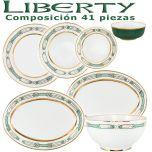 Vajilla Porcel 41 piezas Liberty Verde y Oro diseño moderno