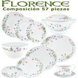 Vajilla Porcel 57 piezas Florence Flores Vintage