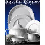 Vajilla completa Santa Clara 57 piezas 12 servicios Sevilla Blanco uso diario
