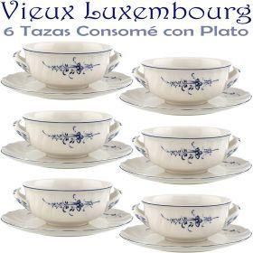 6 Tazas Consomé con Plato ALT VIEUX LUXEMBURG Villeroy & Boch