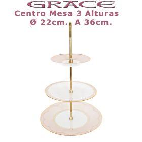 Centro de Mesa 3 pisos Porcel Ø 32cm. A 36cm. Grace Rosa y Oro