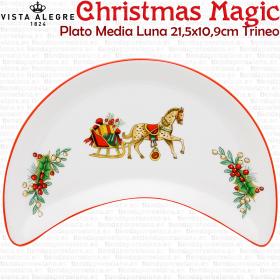 Plato Media Luna Ensalada Trineo decoracion Navidad Vista Alegre CHRISTMAS MAGIC