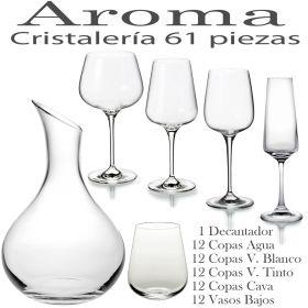 Cristalería 61 piezas (48 Copas + Decantador + 12 Vasos) Aroma Vista Alegre