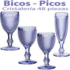 Cristalería 48 copas Bicos - Picos Azul Lavanda Vista Alegre Atlantis