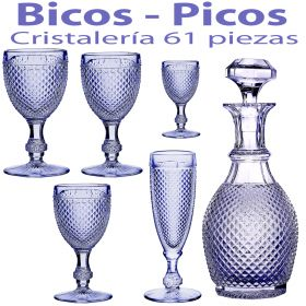 Cristalería + Botella 61 piezas Bicos - Picos Azul Lavanda Vista Alegre Atlantis
