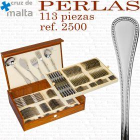Estuche y detalle Cubertería Perlas 2500 Cruz de Malta 113 piezas