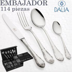 Cubertería Dalia Embajador 2000 Clasica y Elegante marca 113 piezas en estuche