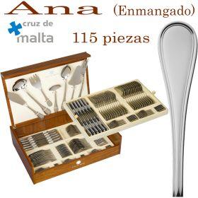 Estuche de madera Cubertería Ana 115 piezas cuchillo Enmangado Cruz de Malta