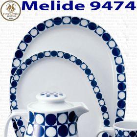 Fuentes Ovaladas Porcelana  Santa Clara Pontesa MELIDE 9474 puntos y cuadrados blanco y azules