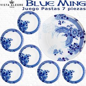 BLUE MING Vista Alegre Juego de Pastas Tarta Porcelana 6 servicios 7 piezas