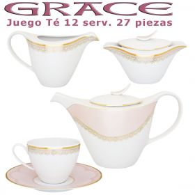 Juego Té Porcel 12 servicios (27 pzs.) Grace Rosa Nácar y Oro