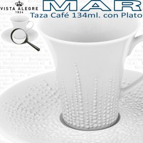 6 Tazas Café Grandes 134ml. con Plato Vista Alegre colección MAR