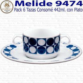 Pack 6 Tazas Consomé con Plato Pontesa / Santa Clara Melide 9474