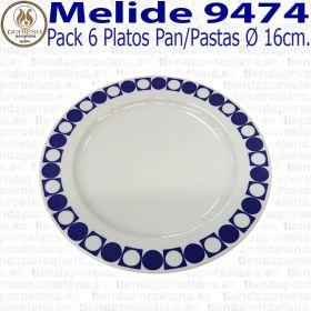 Pack 6 Platos Pan / Pastas 16cm Ø Pontesa / Santa Clara Melide 9474