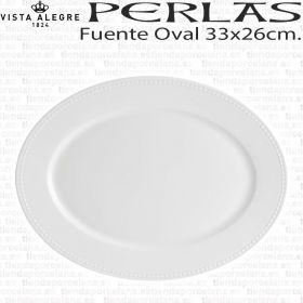 Fuente oval para servir Perla Vista Alegre 33x26cm mediana servicio de mesa hogar hostelería, porcelana profesional