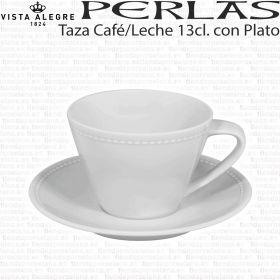 Taza Café con Leche 13 cl. Vista Alegre Perlas, taza clasica para uso diario muy resistente.