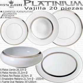 Vajilla Platinium 20 piezas Domo Vista Alegre colección