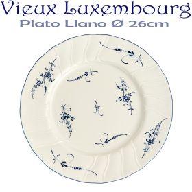 Plato Llano 26cm Ø Villeroy Boch ALT VIEUX LUXEMBURG Flores Azules Cobalto