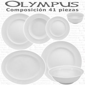 Vajillas Porcel 41 piezas Olympus Blanco Hogar y Hostelería Personalizable