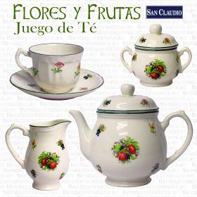 Juego de Té 12 servicios 27 piezas Flores y Frutas Lozas San Claudio