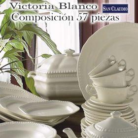 Vajilla 57 piezas Victoria Blanco de Loza San Claudio