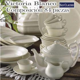 Vajilla + Juego Café 83 / 84 piezas Victoria Blanco Loza San Claudio