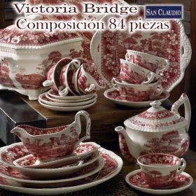 Vajilla con Juego Café 84 piezas Victoria Bridge San Claudio loza