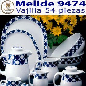 Vajilla 54 piezas Pontesa / Santa Clara Melide 9474 Azul Cobalto menaje hogar