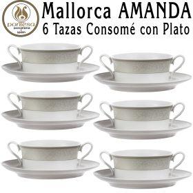 6 Tazas Consomé con Plato Pontesa / Santa Clara Mallorca AMANDA