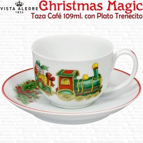 Taza Café trenecito Vista Alegre Christmas Magic Decoracion Navideña