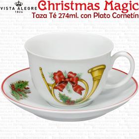Taza de Té Cornetín con Plato Christmas Magic decoración Navideña Vista Alegre