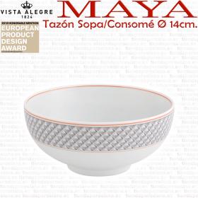 Tazón Consomé Sopa diámetro 14cm porcelana vista alegre colección maya