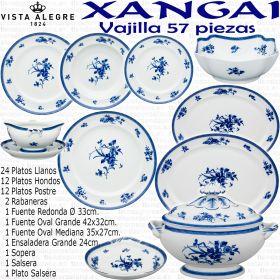 Xangai Vista Alegre vajilla 56 57 piezas decoración Flores en Azul Cobalto