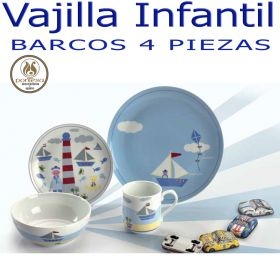 Vajilla infantil para niña dibujo muñecas de Santa Clara Pontesa, 4 piezas