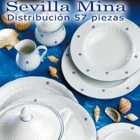 ...  ¡¡¡ ¡¡¡ STOCK AGOTADO !!! !!! ... Vajilla Santa Clara 57 piezas (12 servicios) Sevilla Mina Flores Azules