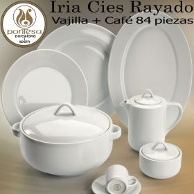 Vajillas completas Santa Clara Iria rayado blanco con Juego Café, 12 servicios mesa completos.