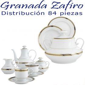 Vajilla + Juego Café 84 piezas Santa Clara Pontesa GRANADA ZAFIRO