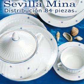 ...  ¡¡¡ ¡¡¡ STOCK AGOTADO !!! !!! ... Vajilla con Juego de Café 84 piezas Santa Clara Sevilla Mina Flor Azul