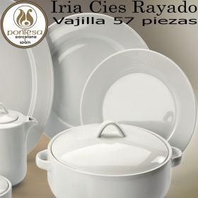 Iria Cies Rayado Blanco Vajilla barata completa 57 piezas Pontesa Santa Clara