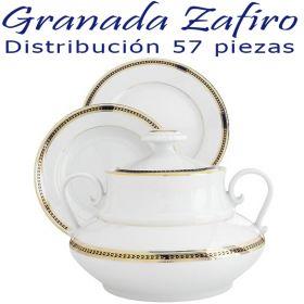 Vajilla 12 servicios 57 piezas Pontesa Santa Clara Granada Zafiro