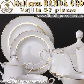 Vajilla Santa Clara Completa 12 servicios 57 piezas Mallorca Banda Oro
