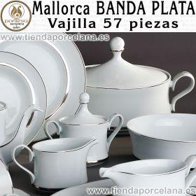 Vajilla completa Santa Clara Mallorca Banda Plata 57 piezas