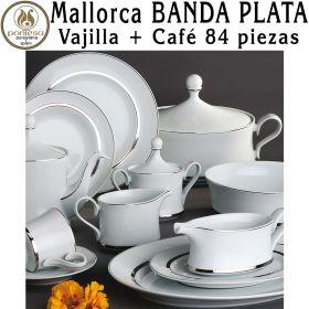 Vajilla + Café 84 piezas Santa Clara Mallorca Banda Plata
