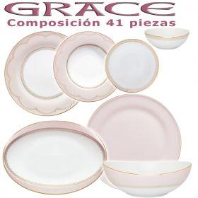 Vajilla Porcel 41 piezas Grace Rosa Nacar y Oro Diseño Modeno Estilo Clásico